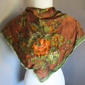 Abstract orange floral scarf